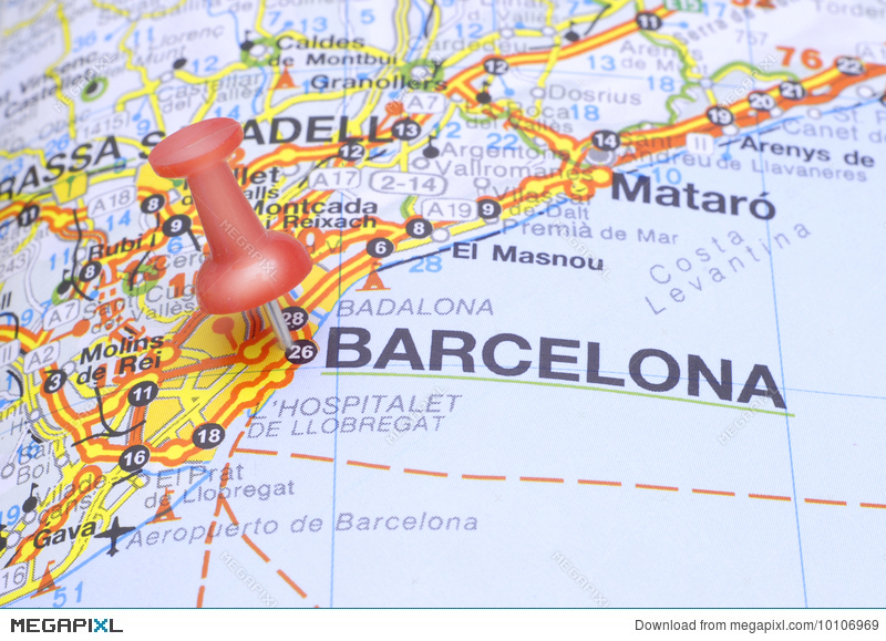Barcelona In Spain Map.Destination Barcelona On The Map Of Spain Stock Photo 10106969