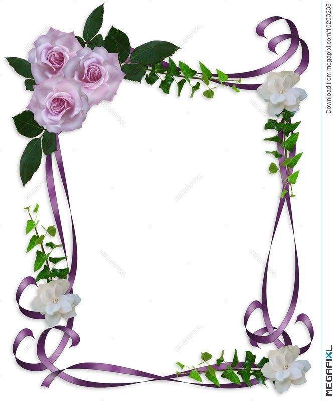 Wedding Invitation Border Lavender Roses Illustration 10203235 ...