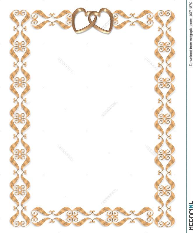 Wedding invitation border gold hearts illustration 10371870 megapixl wedding invitation border gold hearts stopboris Choice Image