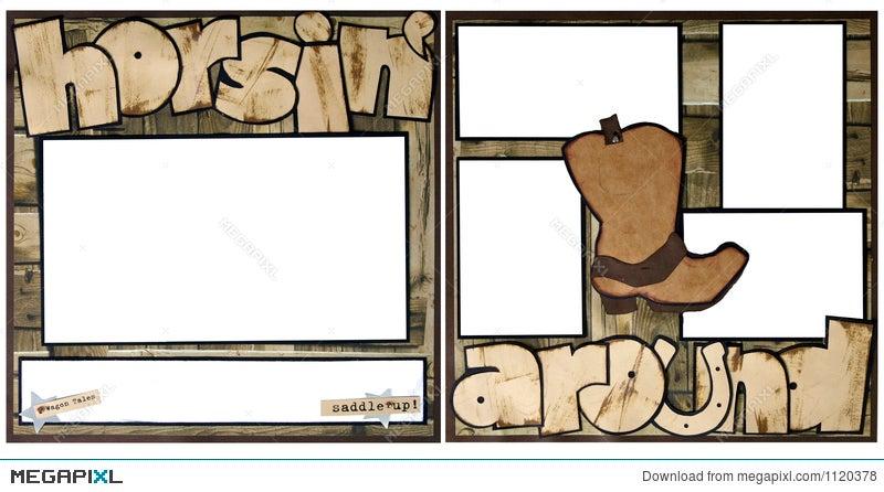 horsing around scrapbook frame template