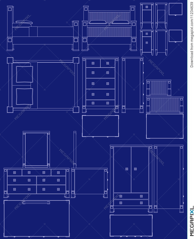 Blueprint bedroom furniture illustration 11234639 megapixl blueprint bedroom furniture malvernweather Image collections