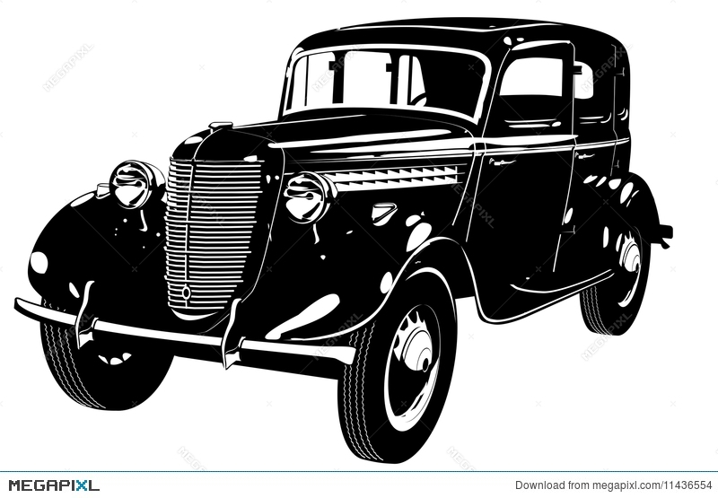 Vector Retro Car Silhouette Illustration 11436554 Megapixlrhmegapixl: Old Fashion Car Silhouette At Cicentre.net