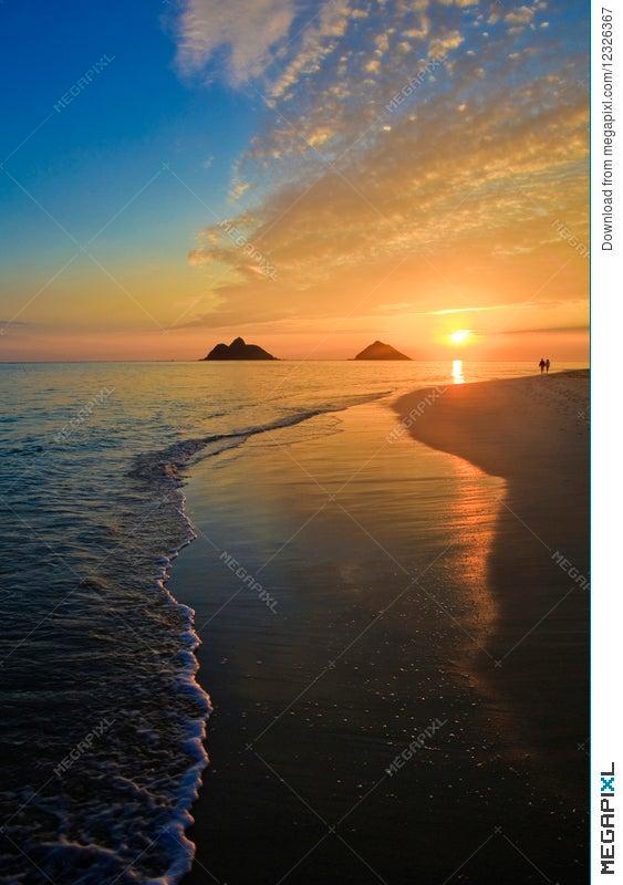 Pacific Sunrise At Lanikai Beach Hawaii Stock Photo