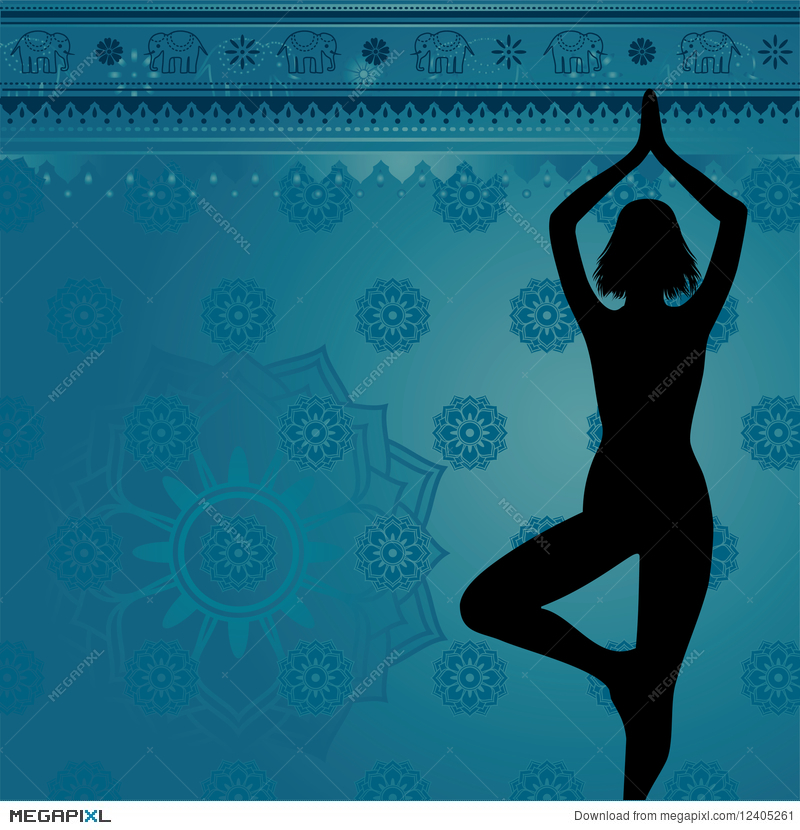 Blue Yoga Background Illustration 12405261 Megapixl
