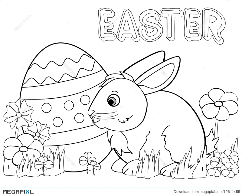 Easter Bunny Coloring Page Illustration 12611455 - Megapixl