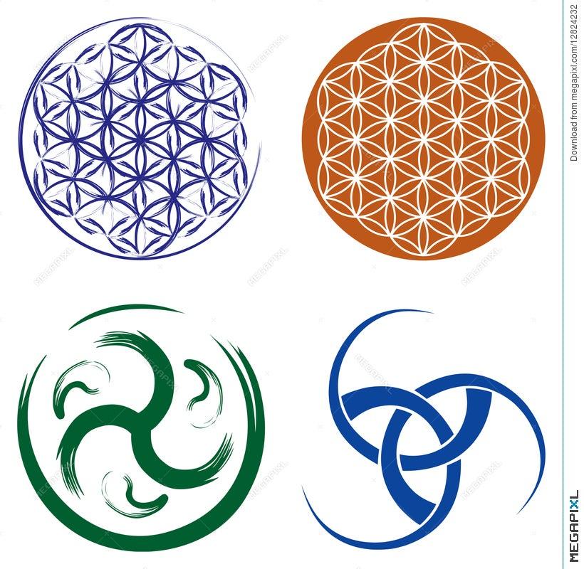 Set Of Celtic Symbols And Flower Of Life Illustration 12824232