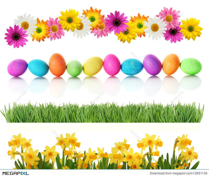 Spring Easter Borders Stock Photo 12831134