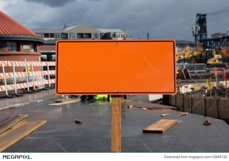 blank construction sign stock photo 12848132 megapixl