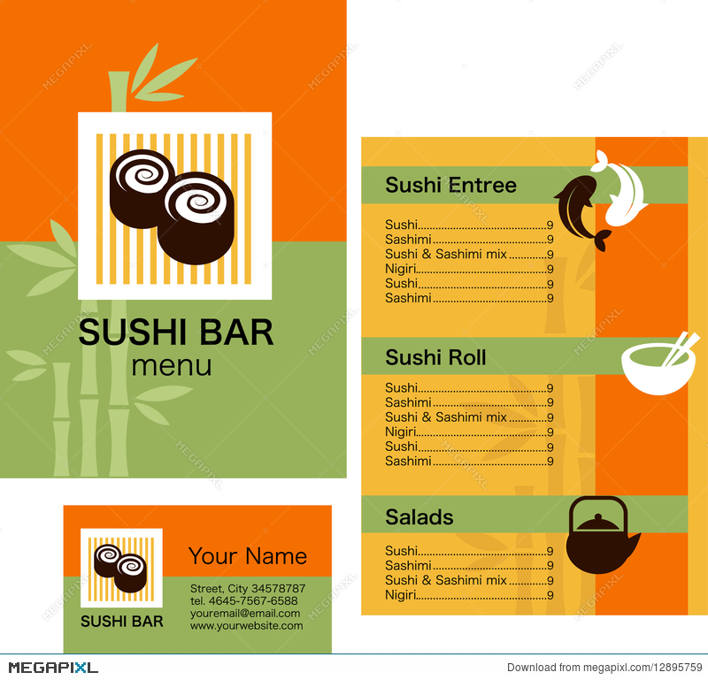 Sushi menu template and business card with logo illustration sushi menu template and business card with logo pronofoot35fo Gallery
