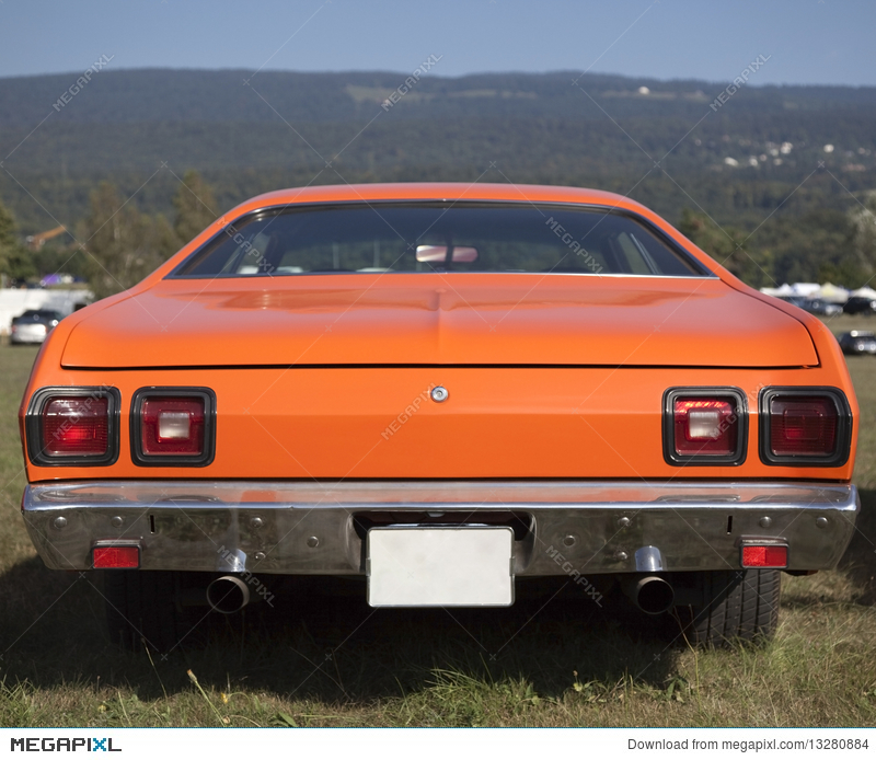 American Muscle Car Rear View Stock Photo 13280884 Megapixl
