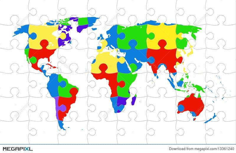 World Map Puzzle Illustration Megapixl - World map puzzle