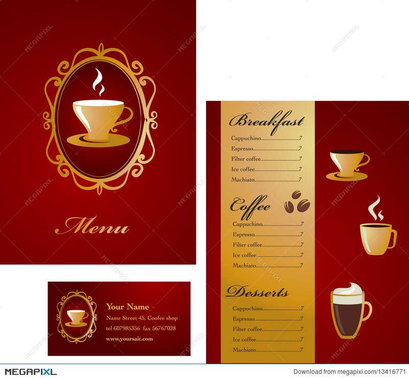 Menu and business card template design coffee illustration menu and business card template design coffee flashek Images