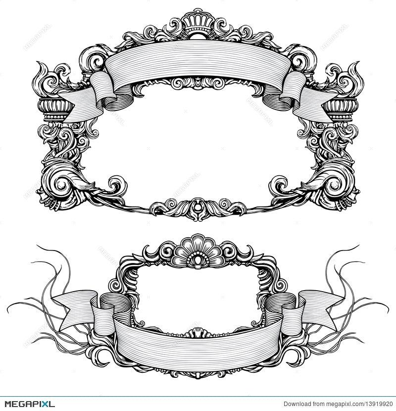 Vintage Ornate Frames With Scroll Illustration 13919920 - Megapixl