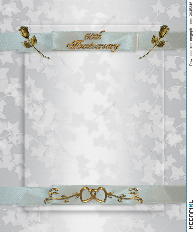 50Th Wedding Anniversary Invitation Illustration 13945346 - Megapixl