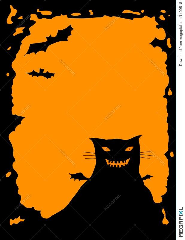 Halloween Border With Cat Illustration 1409518 - Megapixl
