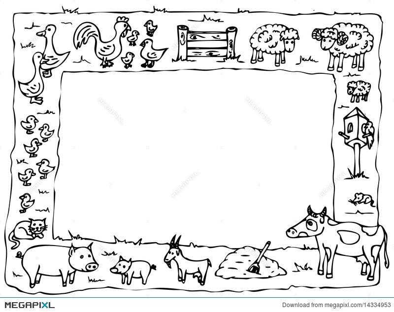 Animal Farm Frame Illustration 14334953 - Megapixl