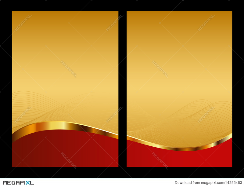 Gold And Red Abstract Background Front And Back Illustration