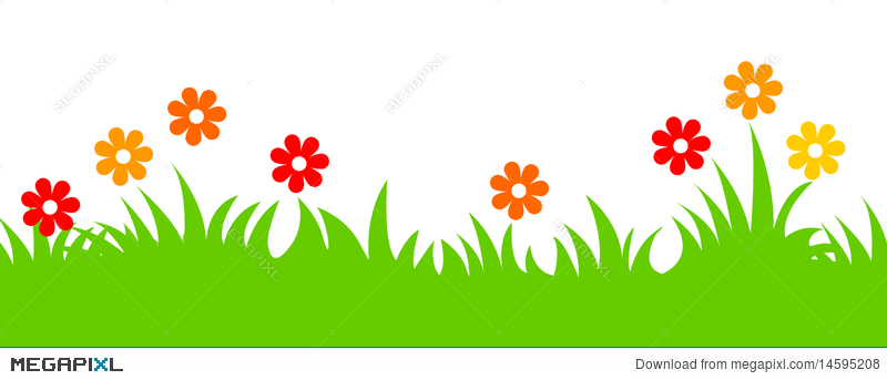 Spring Flowers And Grass Header Illustration 14595208 Megapixl