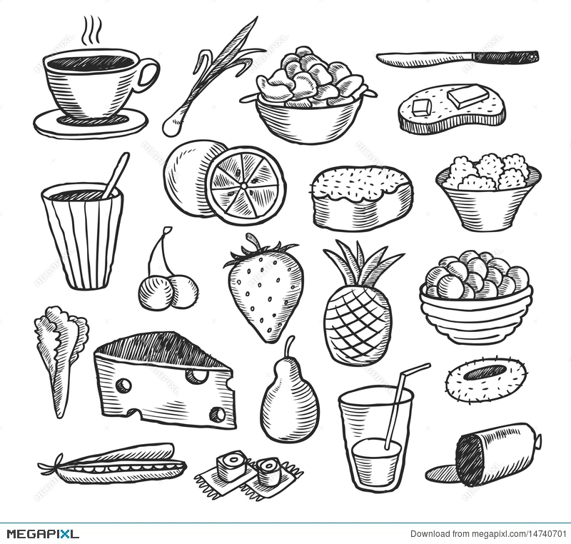 Food Doodles Illustration 14740701 Megapixl