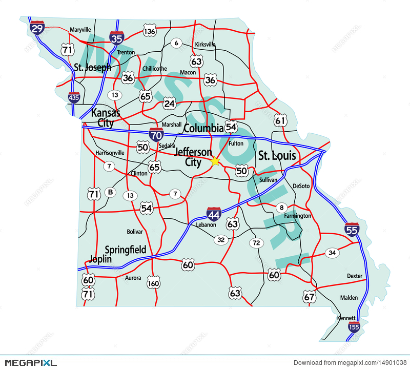Missouri State Interstate Map Illustration Megapixl - Missouri road map