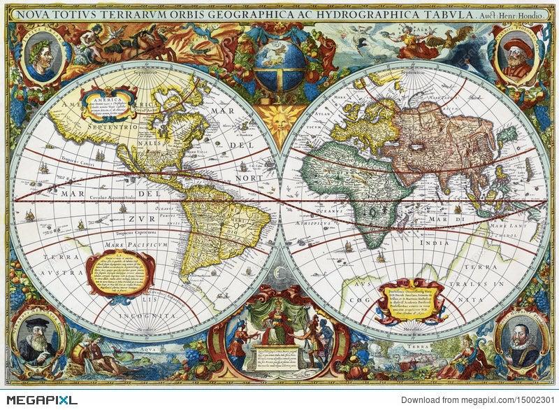Ancient Map Of Vintage Medieval World Hondius Illustration 15002301