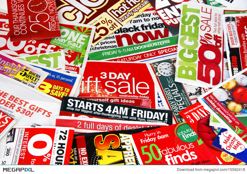 Sale Advertising Papers Stock Photo 15592418 - Megapixl
