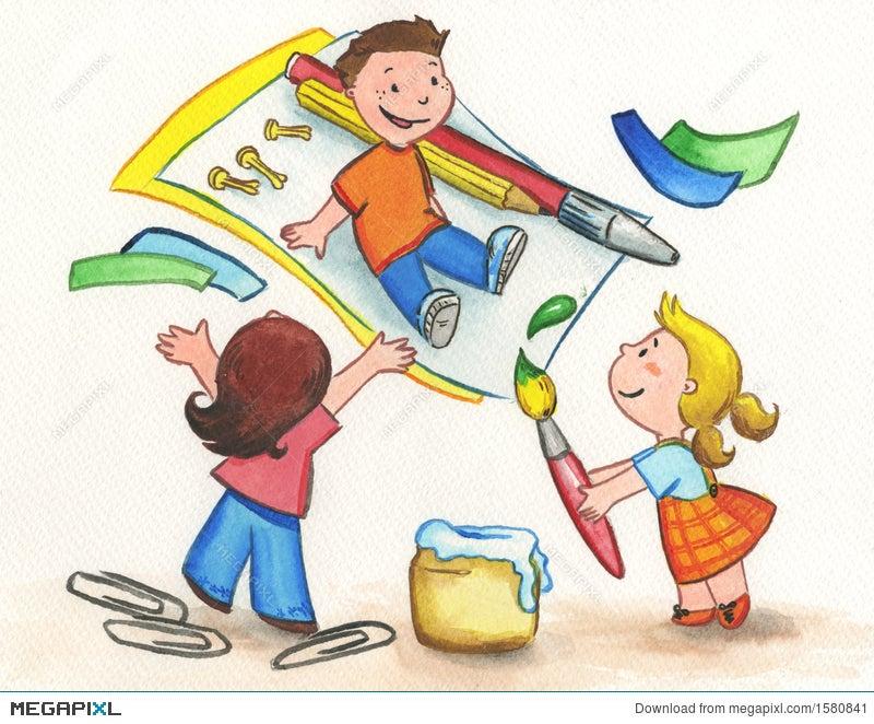 Kids Painting Illustration 1580841 - Megapixl