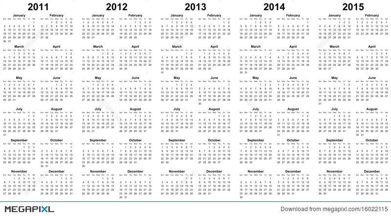 calendar for year 2011 2012 2013 2014 2015 illustration 16022115