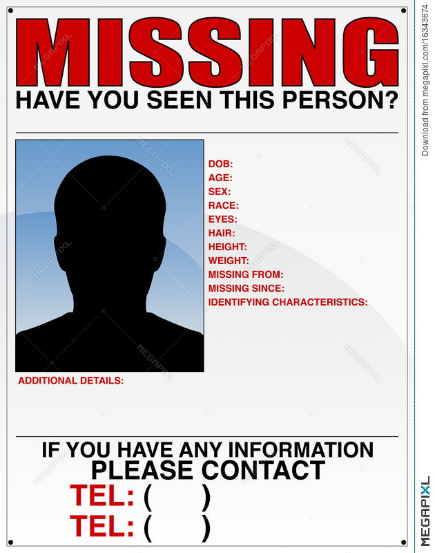 Awesome Missing Person Poster Intended For Lost Person Poster