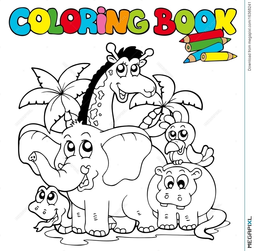 Coloring Book With Cute Animals 1 Illustration 16368241 - Megapixl