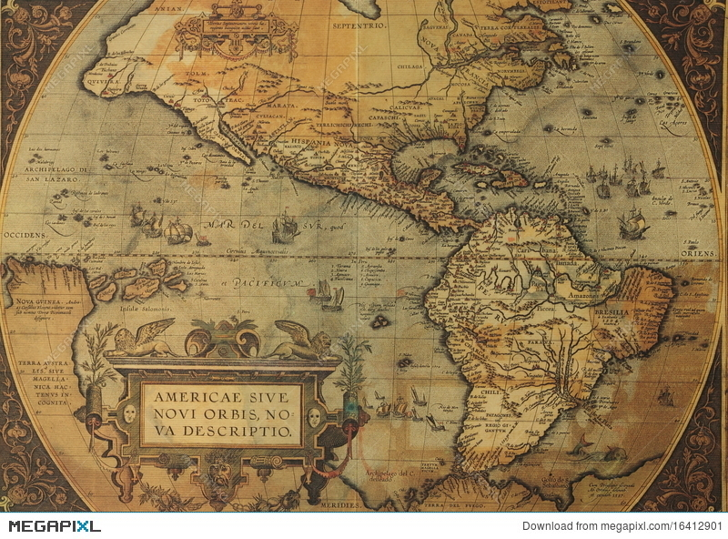 Ancient Maps Of North And South America Stock Photo 16412901