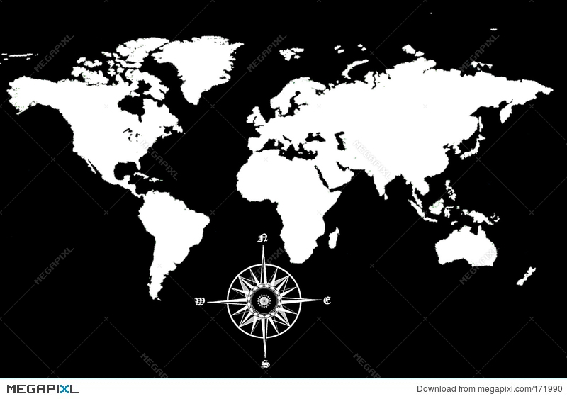 world map with compass illustration 171990 megapixl