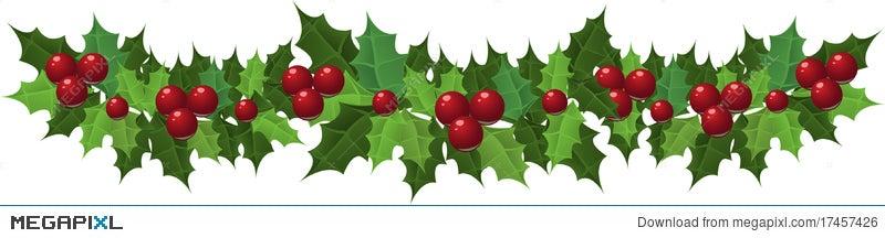 Christmas Holly Clipart Free.Christmas Holly Garland Illustration 17457426 Megapixl