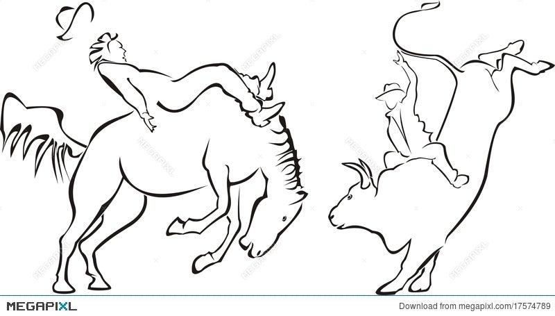 Rodeo - Horse And Bull Illustration 17574789 - Megapixl