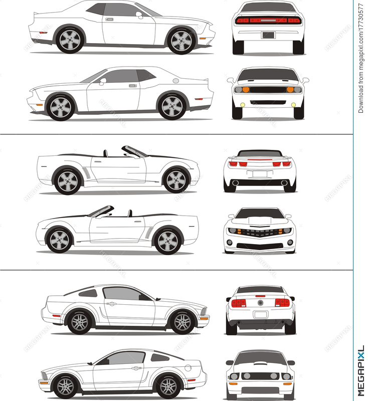 Muscle Car Outline Template Illustration 17730577 Megapixl