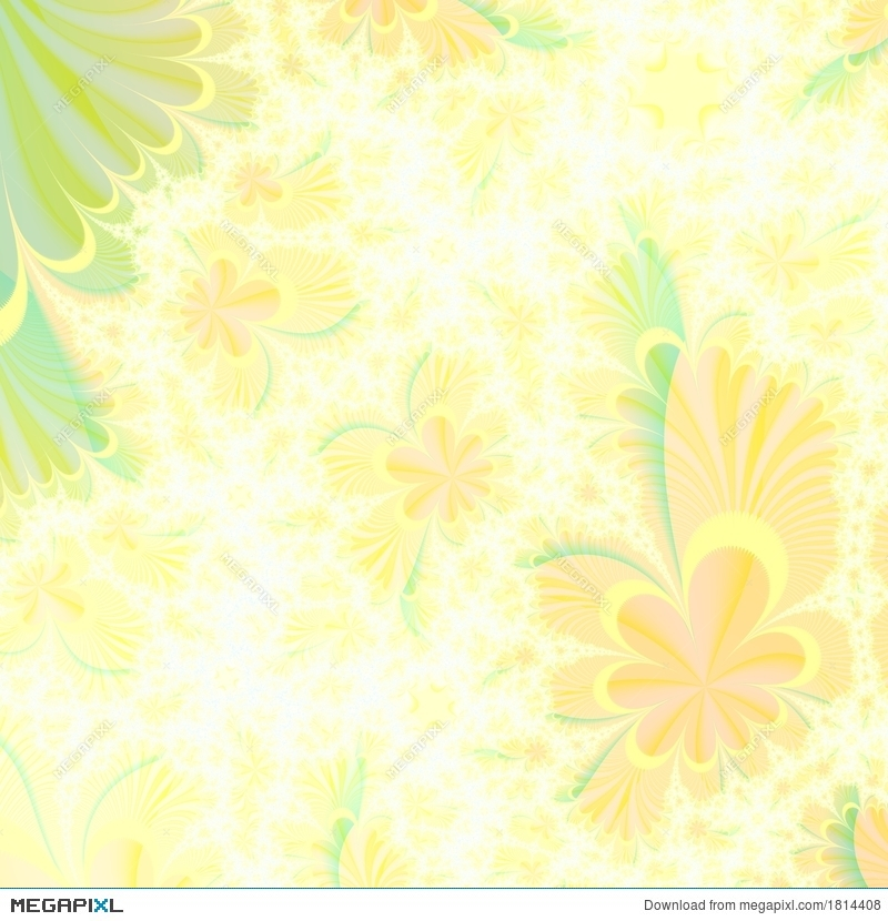 Flowery Yellow And Green Abstract Background Design Template ...