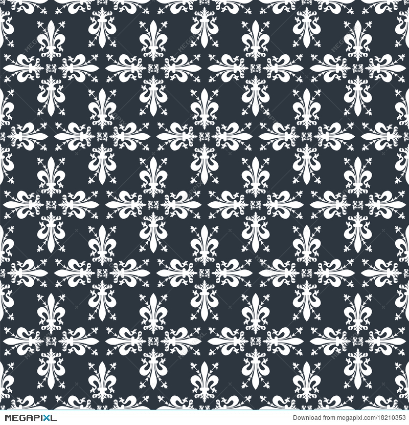 Seamless Victorian Royal Texture With Fleur De Lis Illustration 18210353 Megapixl