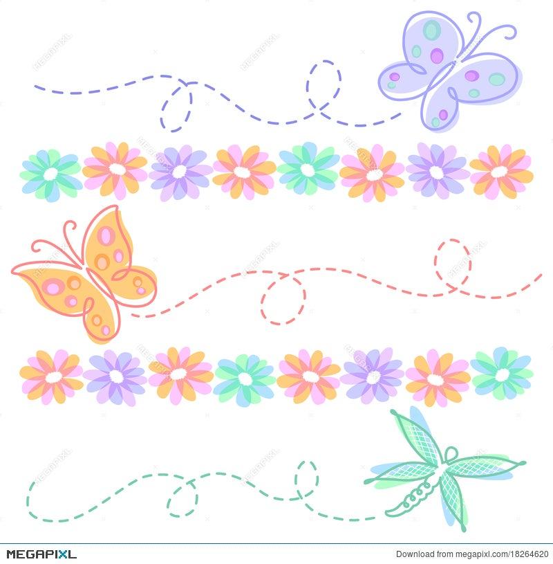 Spring flower butterfly borderseps illustration 18264620 megapixl spring flower butterfly borderseps mightylinksfo