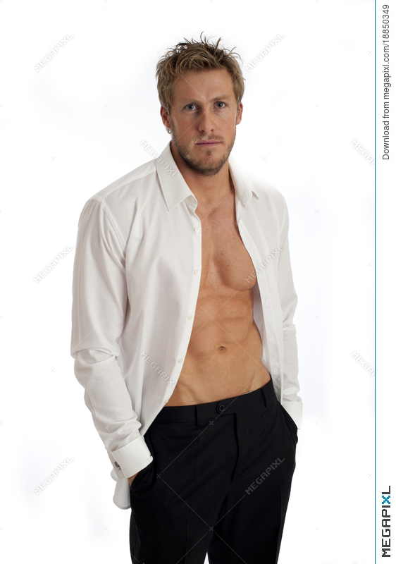 Casual Looking Male In Open Shirt Stock Photo 18850349 - Megapixl