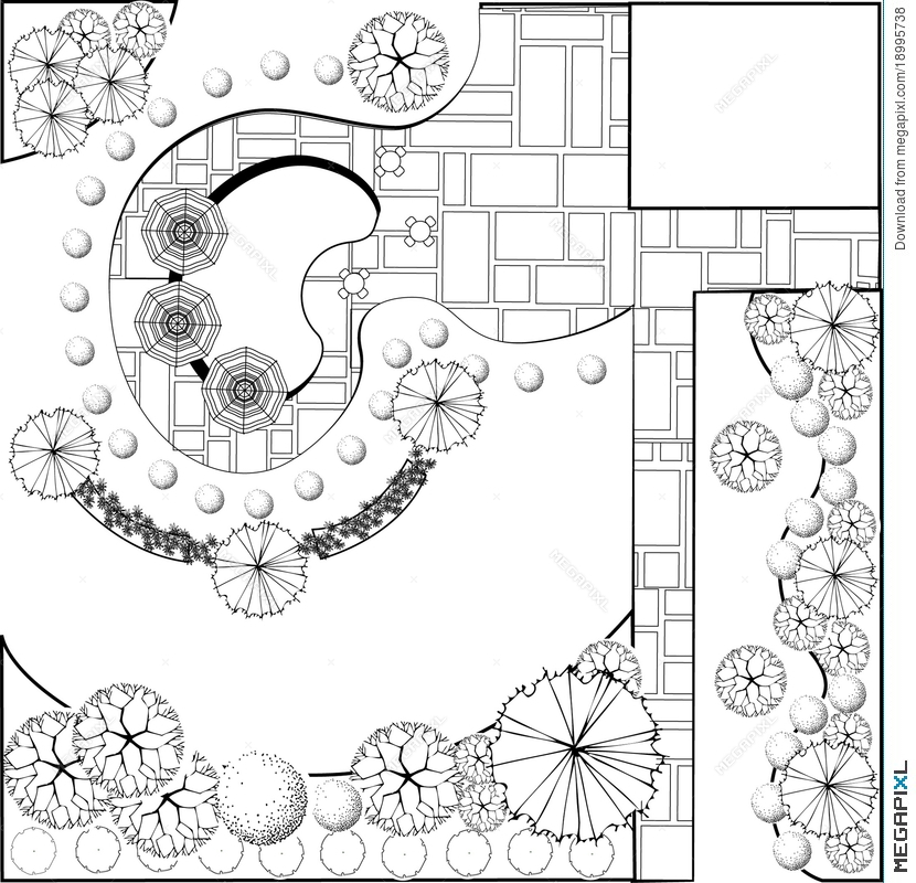Garden Plan Black And White
