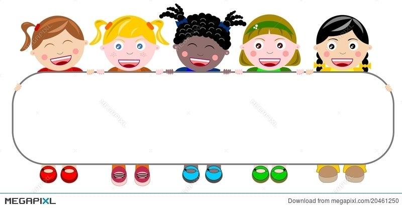 Happy Multicultural Kids Holding Banner