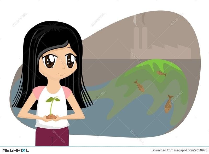 Save The Earth Cartoon Girl Illustration 2058973 Megapixl