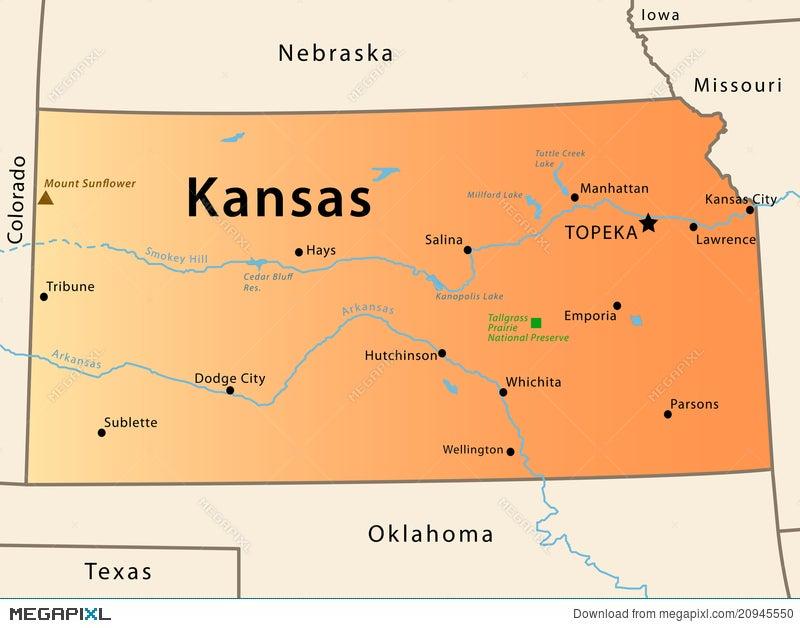Kansas Map Illustration Megapixl - Kansas map