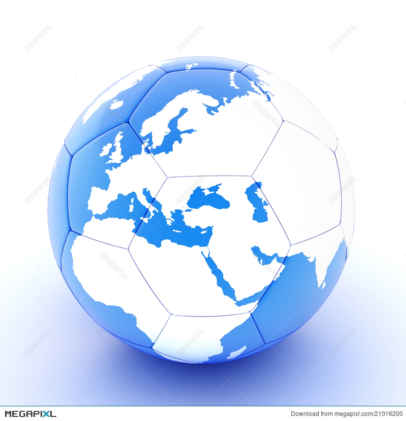 White blue soccer ball with world map illustration 21016200 megapixl white blue soccer ball with world map gumiabroncs Images