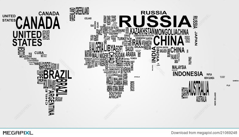 World Map With Country Name Illustration Megapixl - Free download of world map with country name