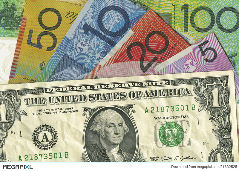 A Crumpled Us Dollar Bill Over Australian Money