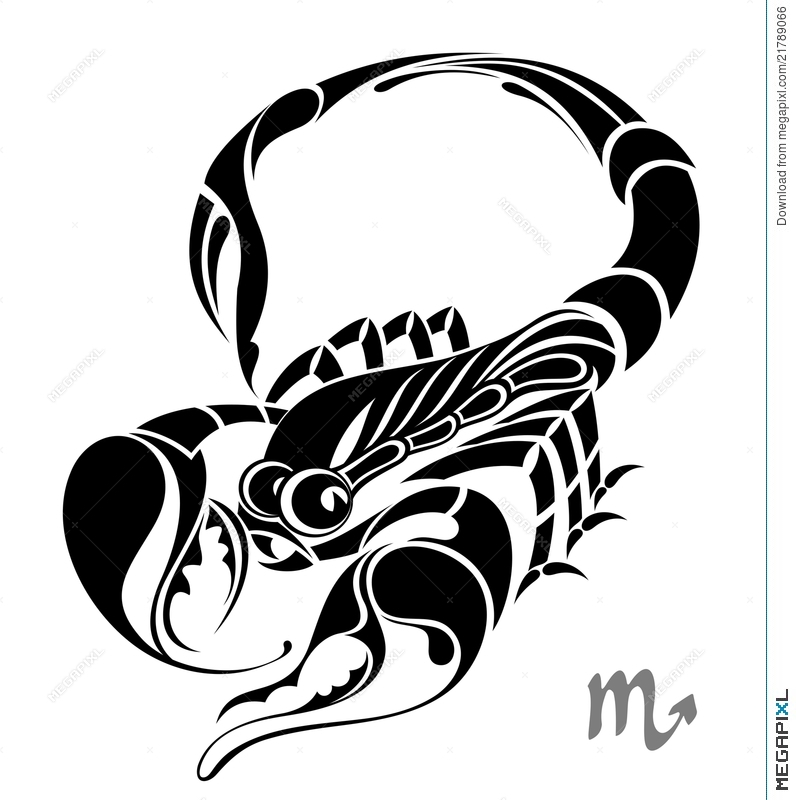 Scorpio Zodiac Vector Sign Tattoo Design Illustration 21789066