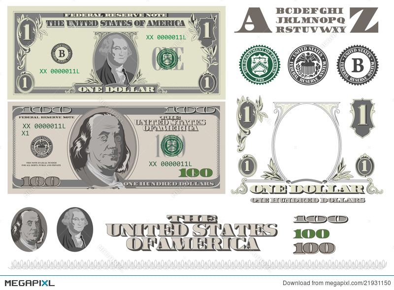 money 1 and 100 dollar bills template illustration 21931150 megapixl