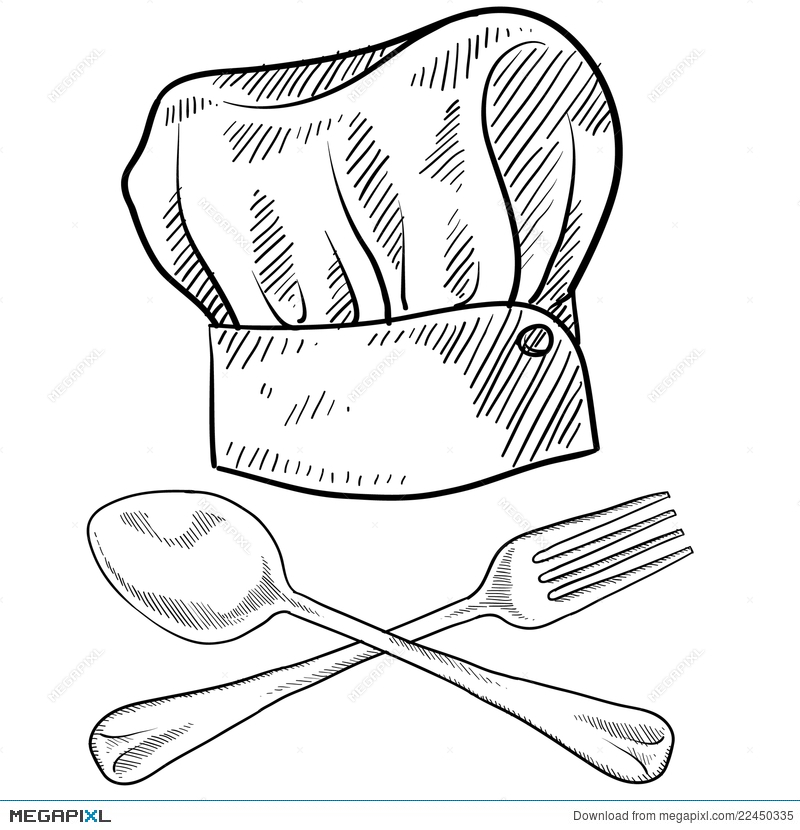 chef hat and utensils drawing illustration 22450335 megapixl