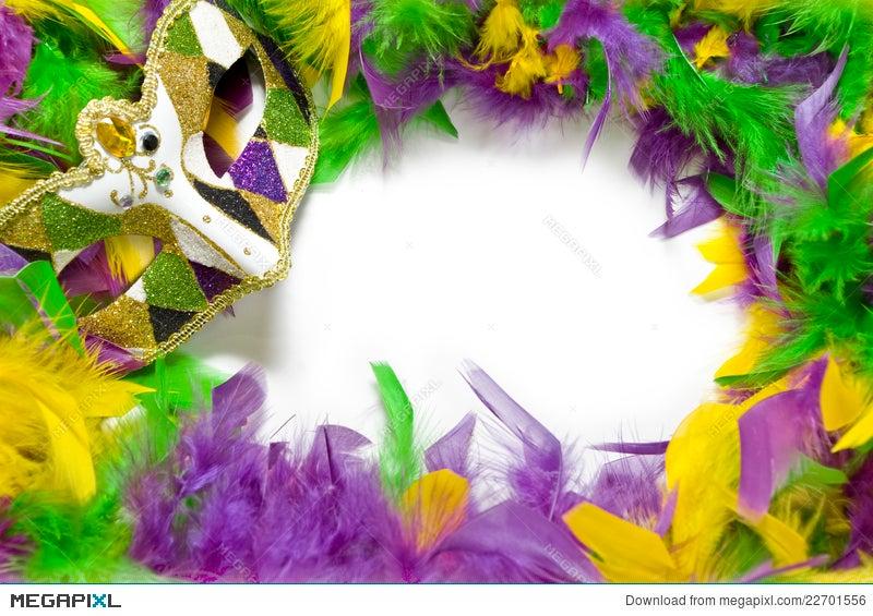 Mardi Gras Feather & Mask Frame Stock Photo 22701556 - Megapixl